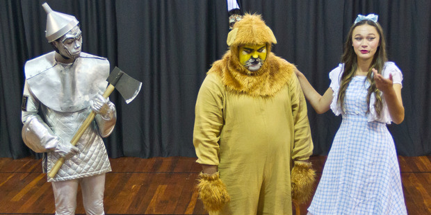 Trevayze Wairepo as Tinman, Arapeta Paea as Lion and Teina Cassidy as Dorothy. Photo / Stephen Parker