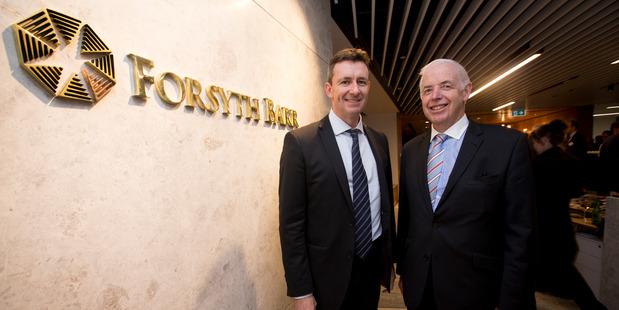 Forsyth Barr chief executive Neil Paviour-Smith (left) with chairman Sir Eion Edgar. Photo / Dean Purcell