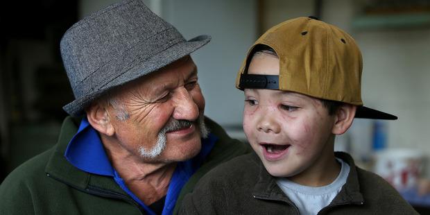 Graham Hartley and grandson Tainui Hartley-Whareaorere enjoying each other's company. Photo/John Borren