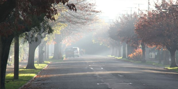 Essex St, Masterton, showing winter air pollution. PHOTO/FILE
