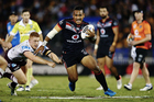 Solomone Kata of the Warriors makes a run against Thomas Symonds of the Sea Eagles during the round six NRL match. Photo / Getty Images.