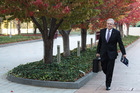 Australian Treasurer Scott Morrison arrives at Parliament in Canberra to read the Budget. Picture / Getty