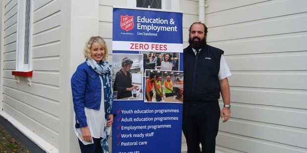 Tutor Kirsty Winter and Carterton Salvation Army Lieutenant Logan Bathurst have set up a new course for teenagers that will help them achieve NCEA credits and gain employment skills. PHOTO/ALISA YONG
