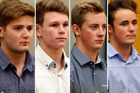 Matthew McKenzie, 19, Dylan Christie, 19, Ethan Daniel Poole, 19, and Robert Samuel Hales, 18.