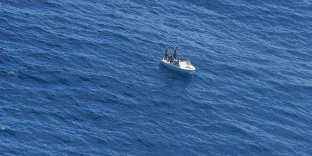 New Zealand Defence Force Orion finds the missing Kiribati fishermen. Photo / Defence Force