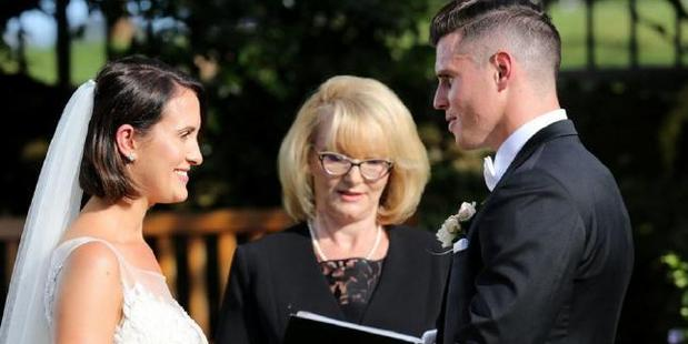 Simone and Xavier from Married at First Sight on their wedding day. Photo / Channel 9