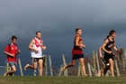 Dannevirke High School cross-country runners (from left) Caleb Shuker, Chris Stuart, Dallas Read and Luke Janssen head into the second lap of the intermediate boys race. Photo / Christine McKay