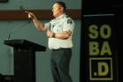 MC Acting Sergeant Simon Paul speaks at the Roadsafe Youth Alcohol Expo at Pettigrew Green Arena. Photo / Warren Buckland