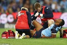 Kurtley Beale suffers his knee injury that will sideline him for up to six months. Photo / Getty Images
