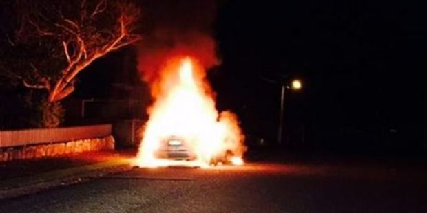 """""""Shortly after 1am some lovely person decided to set fire to this Nissan Primera on Mandeno St,"""" police wrote. Photo / via Facebook"""
