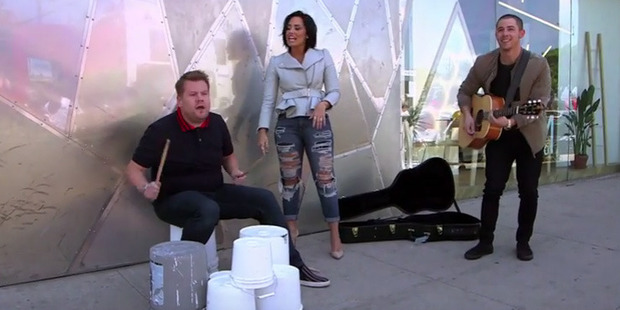 James Corden's audition to join Demi and Nick on tour.