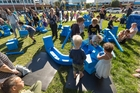 Young punters enjoy the launch party for the Imagination Playground in Hastings at the weekend.