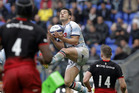 Racing 92's Dan Carter catches the ball during their European Rugby Champions Cup final match against Saracens. Photo / AP