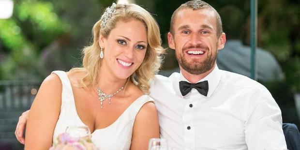 Clare and Jono from Married at First Sight on their wedding day. Photo / Channel 9