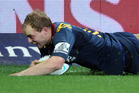 Matt Faddes of the Highlanders scores a try. Photo / Getty