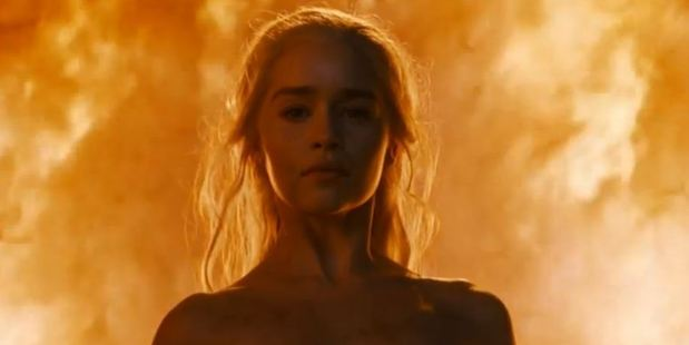 Daenerys Targaryen emerged from a sea of flames with no clothes on in Game of Thrones. Photo / HBO