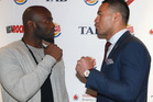 Carlos Takam  and Joseph Parker face off ahead of their fight. Picture / Getty Images