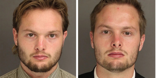 Caleb Tate, left, and his twin brother Daniel are accused of setting off bombs in five locations in the final weeks of 2015. Photo / Chester Country District Attorney's office