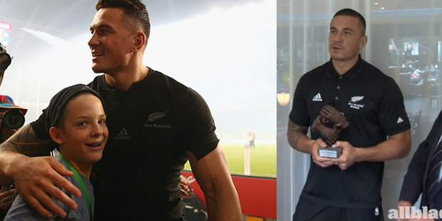 Sonny Bill William's selfless act giving away his Rugby World Cup winners medal to a young fan who was tackled by a security guard has been recognised. Photo / Getty