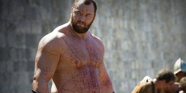 "Loading The Mountain, played by Hafthor ""Thor"" Bjornsson, in a scene from the TV show Game of Thrones."
