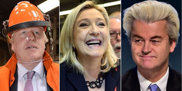London's conservative former mayor Boris Johnson, France's pioneer Marine Le Pen and The Netherlands divisive Geert Wilders. Photos / Getty Images