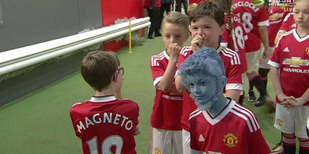 Young Manchester United mascots were dressed as characters from X-Men as part of a promotion. Photo / Twitter