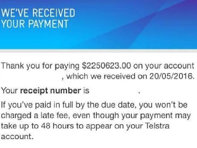 Telstra received Calum Mawson's payment of more than $2 million. Photo / Supplied