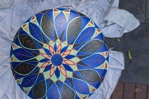 Artist Jamie Harkins's painted bin. Photo/Dane Scott