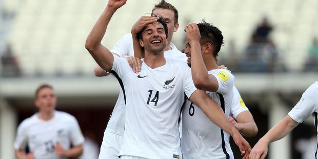 Rory Fallon celebrates scoring New Zealand's second goal against Fiji. Photo / Shane Wenzlick