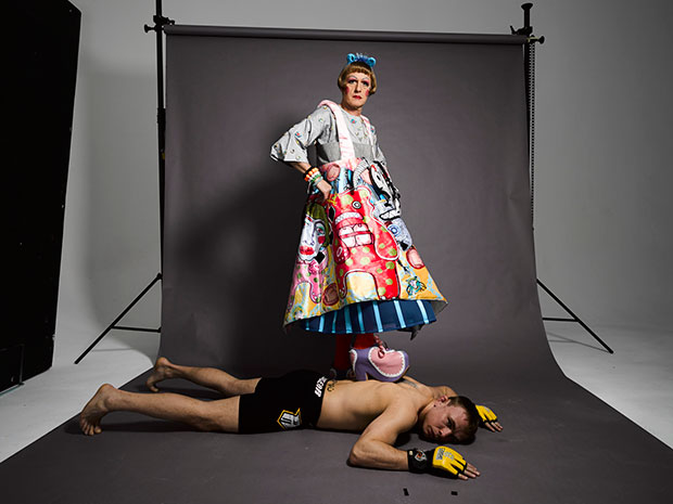 Grayson Perry with one of the boxers from All Man. Picture / Swanfilms Ltd & all3media Int