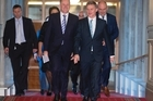 Finance Minister Bill English, with Prime Minister John Key, on the way  to deliver his Budget 2016 speech. Photo / Mark Mitchell