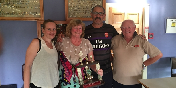 WINNERS: Winners of the Le Roy Triples, Sarah Pattison, Karen Morunga and Gerry Morunga celebrate the win with event sponsor Graeme Gallant. PICTURE/SUPPLIED