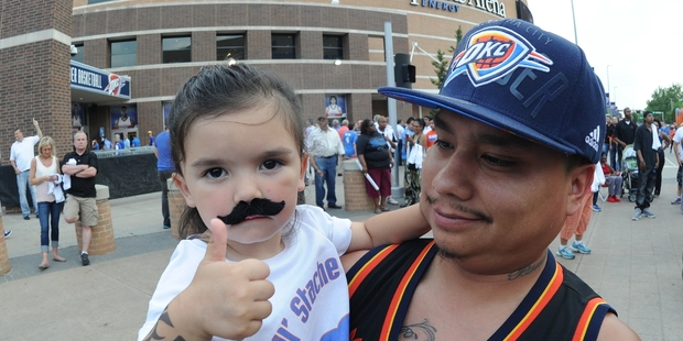 Steven Adams has built a cult following among Oklahoma City Thunder fans, many donning his now-famous moustache ... in various forms. Photo / Getty Images