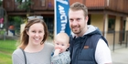 Home hunters Gemma Mann and Mike Alsweiler, with their son Harper, have not ruled out leaving Auckland to find a house they can afford. Picture / Michael Craig