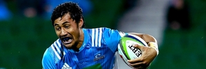 Blues wing Melani Nanai attempts to break a tackle in Perth. Photo / Getty Images