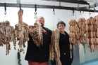 Independent butchers John and Patricia Shannon of the Meat Company Dannevirke on High St, with their sought-after bacon bones and handmade sausages. Photo / Christine McKay
