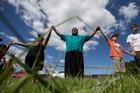 Many including (from left) Nesha Tuki, Reece Autagavaia and Diego Thompson are uniting to protect Ihumatao.  Picture / Jason Oxenham