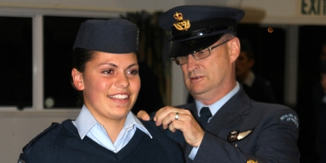 PROMOTED: Kaitaia ATC's brand new Warrant Officer, Jenny Crene, receiving her new rank from WO Donnie Donnellan.