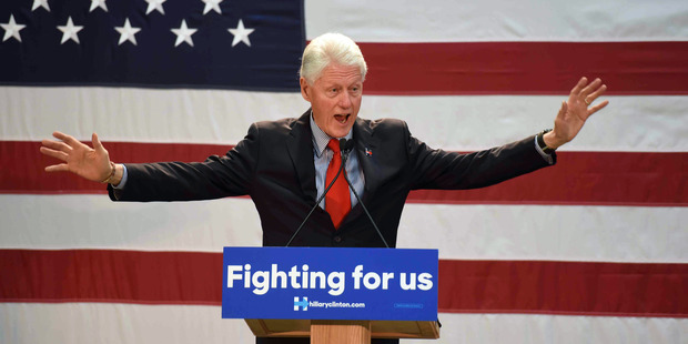 Bill Clinton speaks in Paterson, New Jersey. Photo / AP