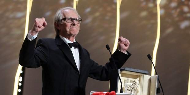 Director Ken Loach reacts after winning the Palme d'or for the film I, Daniel Blake at Cannes. Photo / AP
