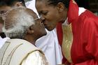 Archbishop Desmond Tutu, left, with his daughter the Rev Mpho Tutu-Van Firth. Photo / AP