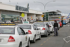 Taxis waiting outside the domestic terminal at Auckland International Airport. Photo / File