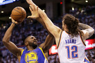 Festus Ezeli #31 of the Golden State Warriors shoots against Steven Adams #12 of the Oklahoma City Thunder. Photo / Getty Images.
