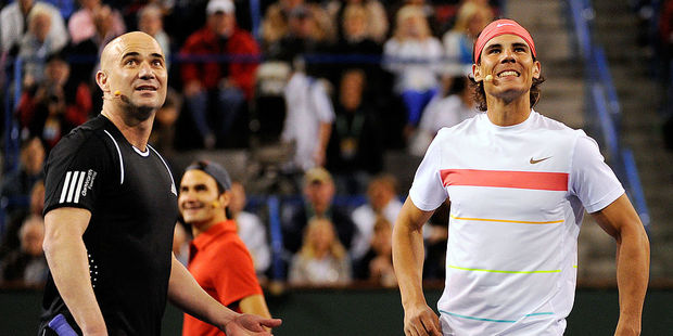 Andre Agassi and Rafael Nadal. Photo / Getty