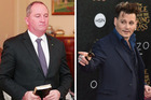 Deputy Prime Minister of Australia, Barnaby Joyce, and actor, Johnny Depp. Photo / AFP