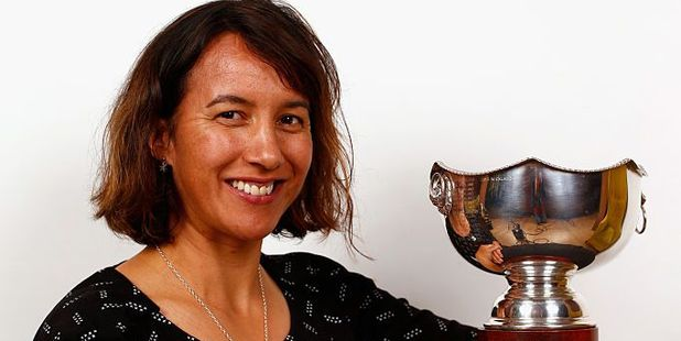 Loading Dr Farah Palmer poses with the Farah Palmer Cup. Photo / Getty