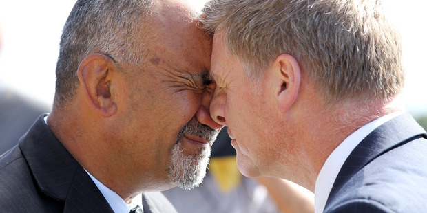 Loading Maori Development Minister Te Ururoa Flavell with Finance Minister Bill English. Photo / Getty Images