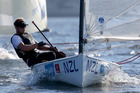Josh Junior sails in the mens Finn class during the International Sailing Regatta. Photo / Getty Images