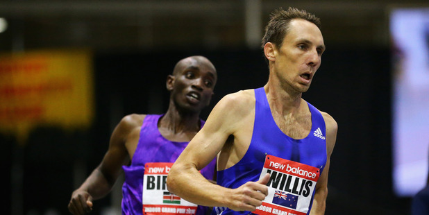 Nick Willis leads the Men's Mile duirng the New Balance Indoor Grand Prix. Photo / Getty Images