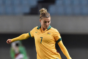 Australian women's footballer Stephanie Catley in action against China in march. Photo / Getty Images